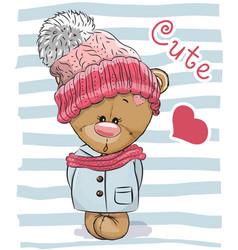 Cute cartoon bear girl vector