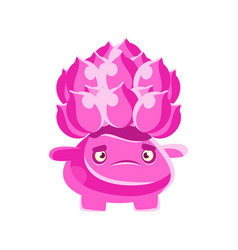 cute pink cactus with a frustrated face cartoon vector image