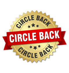 Circle back round isolated gold badge vector