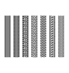 black tire tracks wheel car set vector image