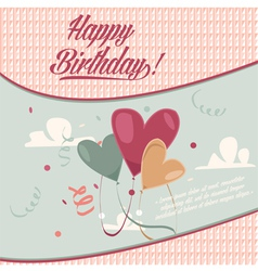 Retro vintage happy birthday card with baloons vector