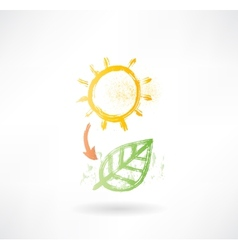 Brush icon with sun and plant vector