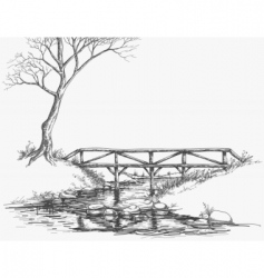 River bridge sketch vector