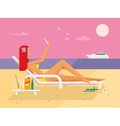 Sunbathing girl on the beach doing selfie vector