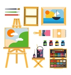 Studio drawing tools to the creative process flat vector