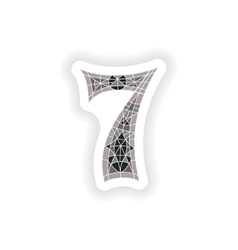 Sticker low poly number 7 in gray mosaic polygon vector