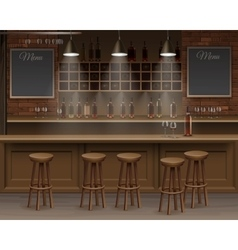 Bar cafe beer cafeteria counter desk interior vector
