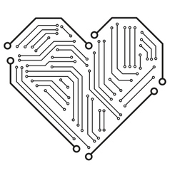 heart motherboard vector image
