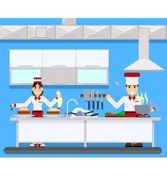 Chefs cooking food in kitchen room vector