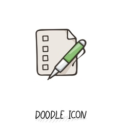 Doodle paper document icon pictograph of note vector