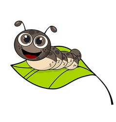 Cute smiling cartoon caterpillar on fresh green vector