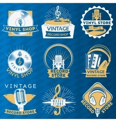 Vinyl vintage label set vector