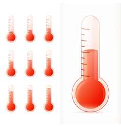 Thermometer red set different states vector
