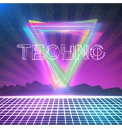 Abstract techno 1980s style background with vector
