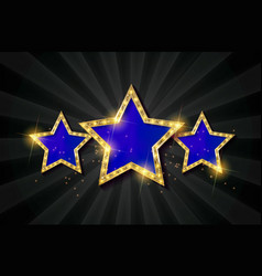 Blue retro light sign three gold stars vector