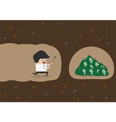 Businessman digging to find money vector