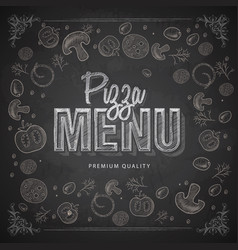 chalk drawing typography pizza menu design vector image vector image