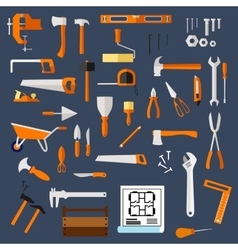 Construction and repair tools flat icons vector image vector image
