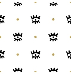 Creative seamless pattern eyes hand-drawn black vector image