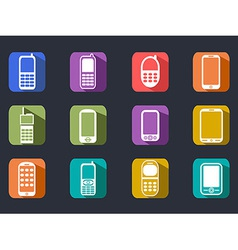 Flat cell phone long shadow icons vector