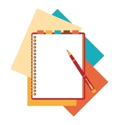 Flat design notepad paper sheet vector image