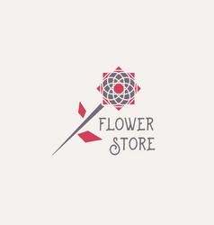 Flower store emblem vector