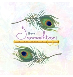 Greeting card for happy janmashtami vector