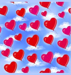 Heart balloons seamless background vector