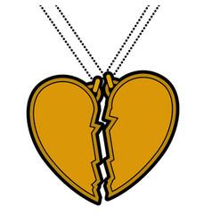 Heart love broken necklace vector