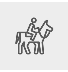 Horse Riding thin line icon vector image