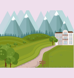 hotel facade in the middle of the mountains vector image vector image