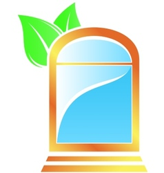 Icon with window and leaf vector