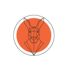Kangaroo face logo emblem template vector