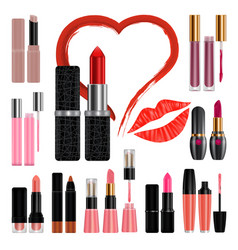lipstick mockup set kiss realistic style vector image
