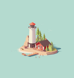 Low poly lighthouse vector