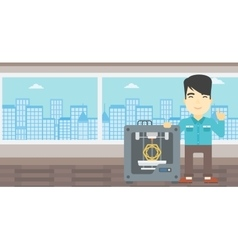 Man with three D printer vector image vector image