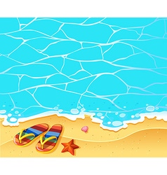 Nature scene with sandles on the beach vector