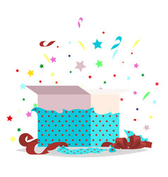 open blue gift box holiday collection vector image