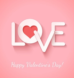 Paper sign love with cotout red heart over pink vector