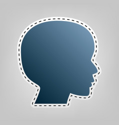 People head sign blue icon with outline vector