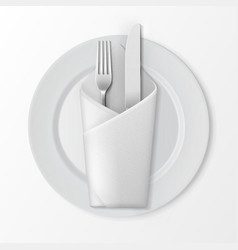 Plate with silver fork and knife folded napkin vector