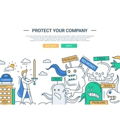 Protect your company line flat design banner with vector image vector image