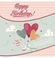 Retro vintage happy birthday card with baloons vector image