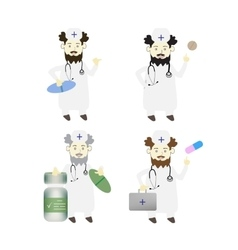 Set of four doctors on isolated background vector image vector image