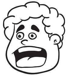 simple black and white fat boy scream vector image vector image
