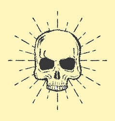 Skull with sunburst isolated on white background vector image