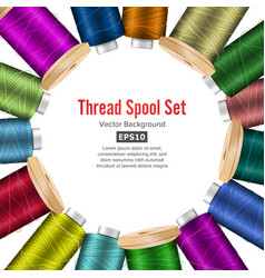thread spool banner circle border place for text vector image vector image