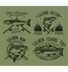 Vintage salmon fishing emblems vector image