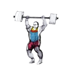 Weightlifter with barbell lifted ink hand drawn vector