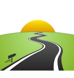 Winding road with white lines leaving over the vector image